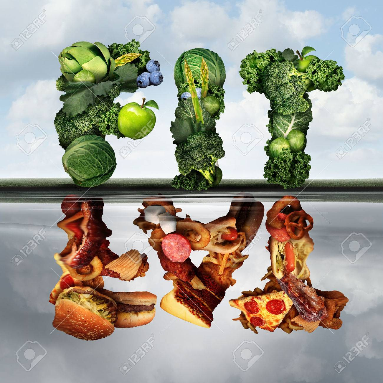 Eating lifestyle change concept fat or fit as a group healthy green fruits and vegetables reflecting greasy unhealthy food  as an icon for diabetes or diabetic diets with 3D illustration elements. Stock Photo - 55630160