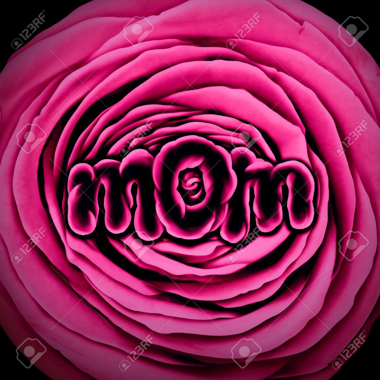 Mère Maman Fleur Avec Une Rose Avec Forme Pour Représenter La
