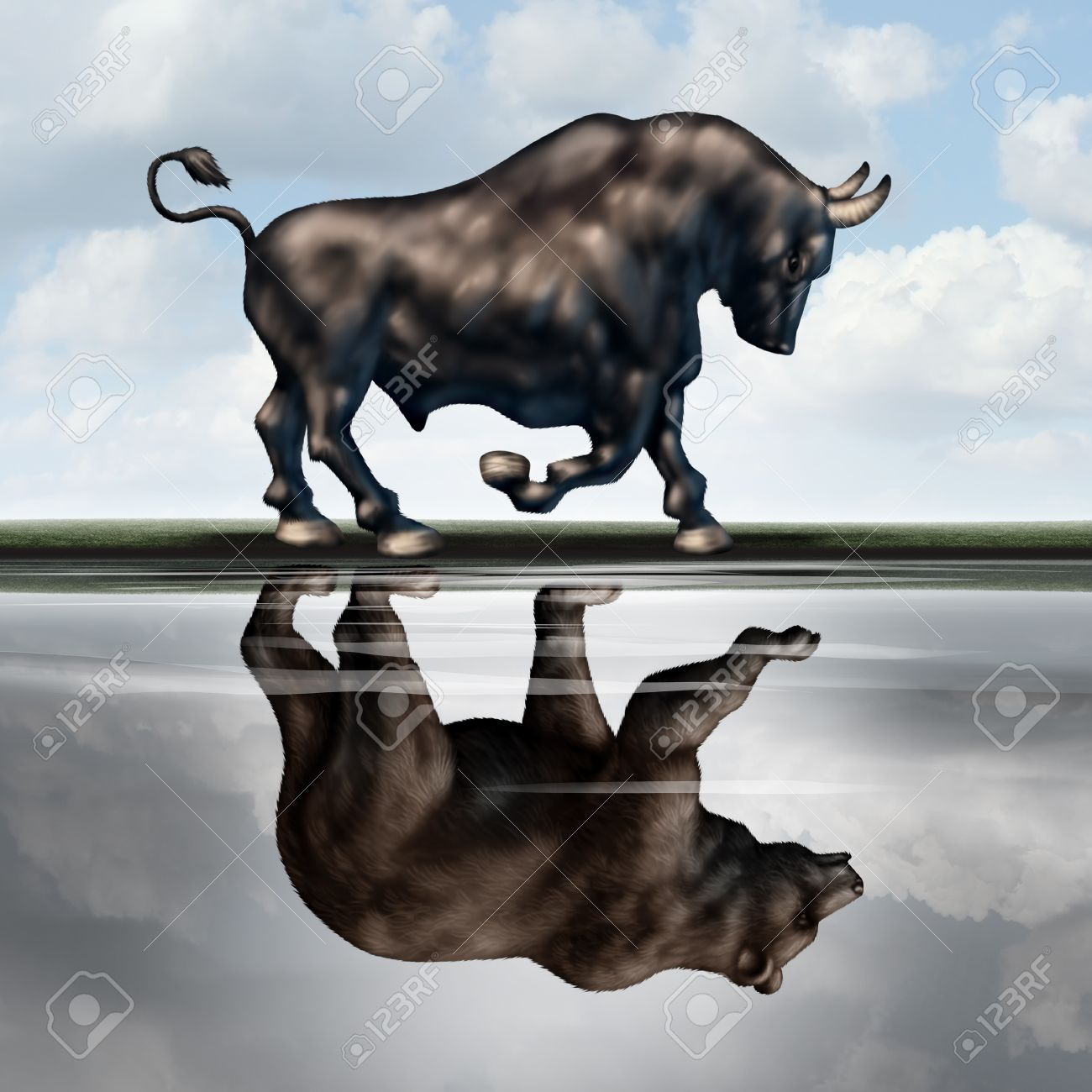Investing warning signs as a financial stock market metaphor with a bull creating a reflection in the water of a bear as an economic downturn or recession forecast in a 3D illustration style. Standard-Bild - 55999960