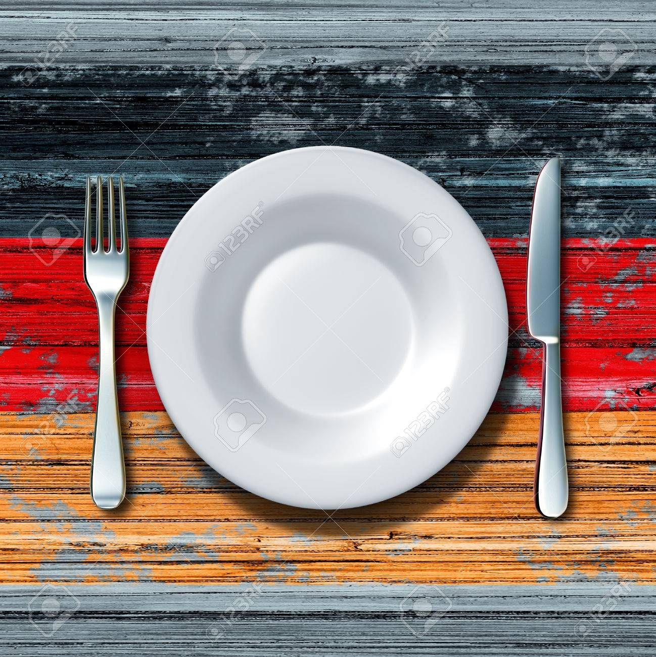 German Cuisine Food Concept As A Place Setting With Knife And ...