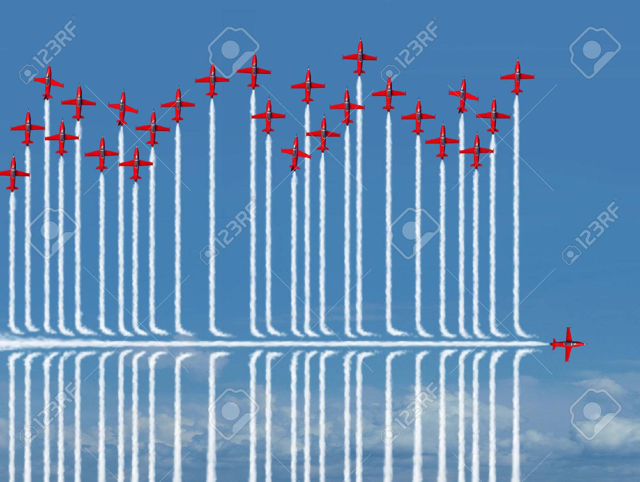 Different strategy business concept as an individual jet airplane flying under the competition as a metaphor for new confident strategic thinking finding a new way to success with 3D illustration elements. Standard-Bild - 56997795