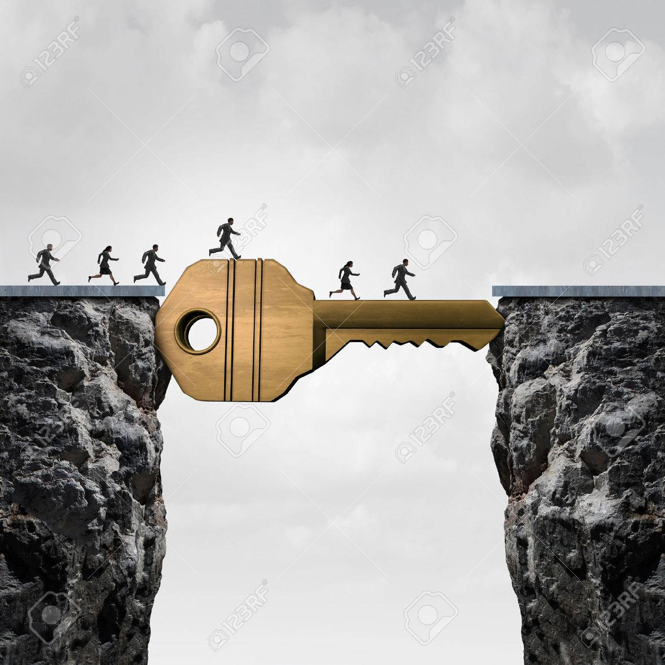 Success key concept as a group of people running across two cliffs with a giant golden brass security object acting as a bridge to reach opportunity with 3D illustration elements. Stock Illustration - 56997796