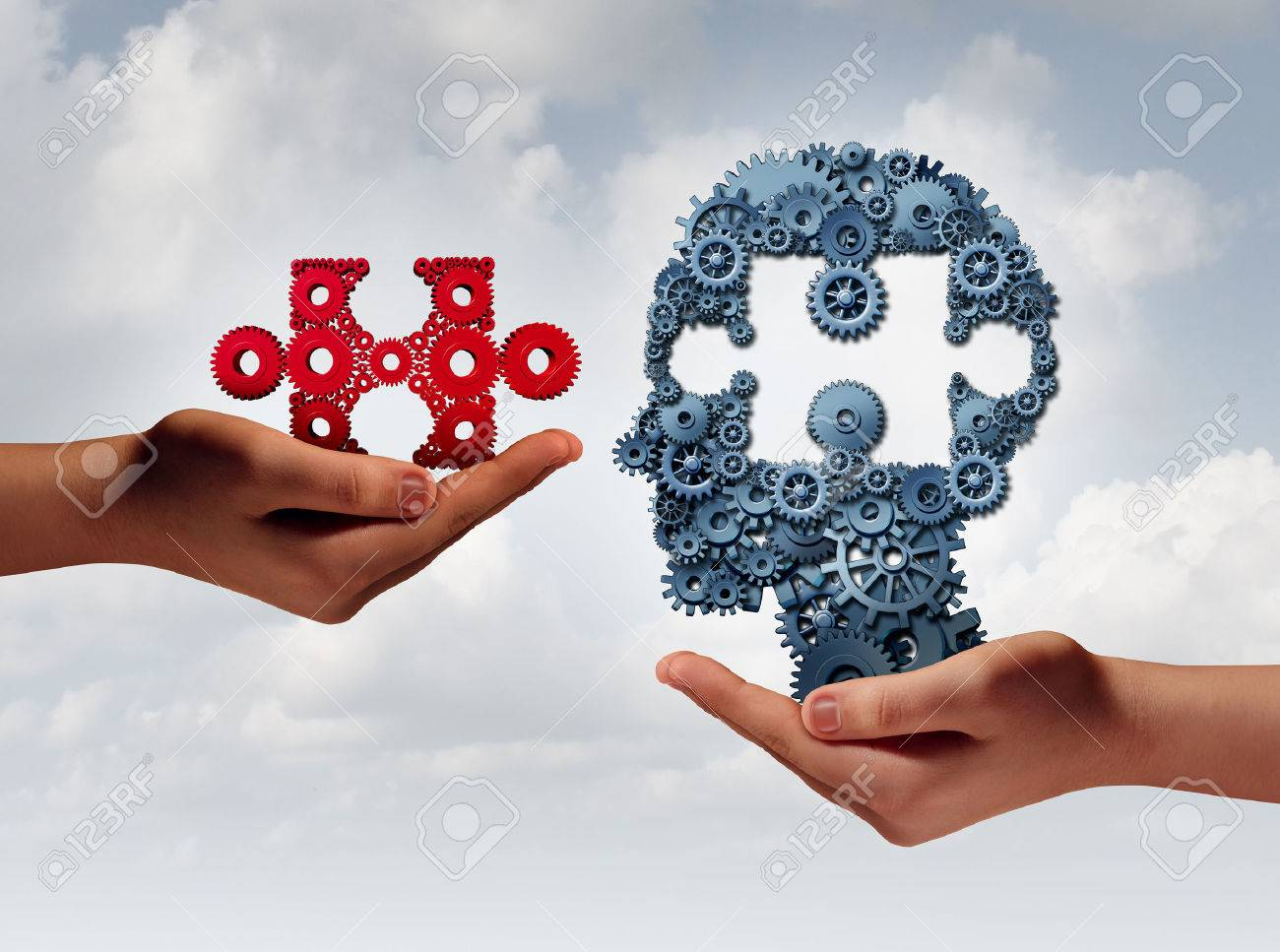 Concept of business training and skill development symbol as human hands holding a puzzle piece and gears shaped as a head as a technology or training metaphor with 3D illustration elements. Stock Illustration - 56997803