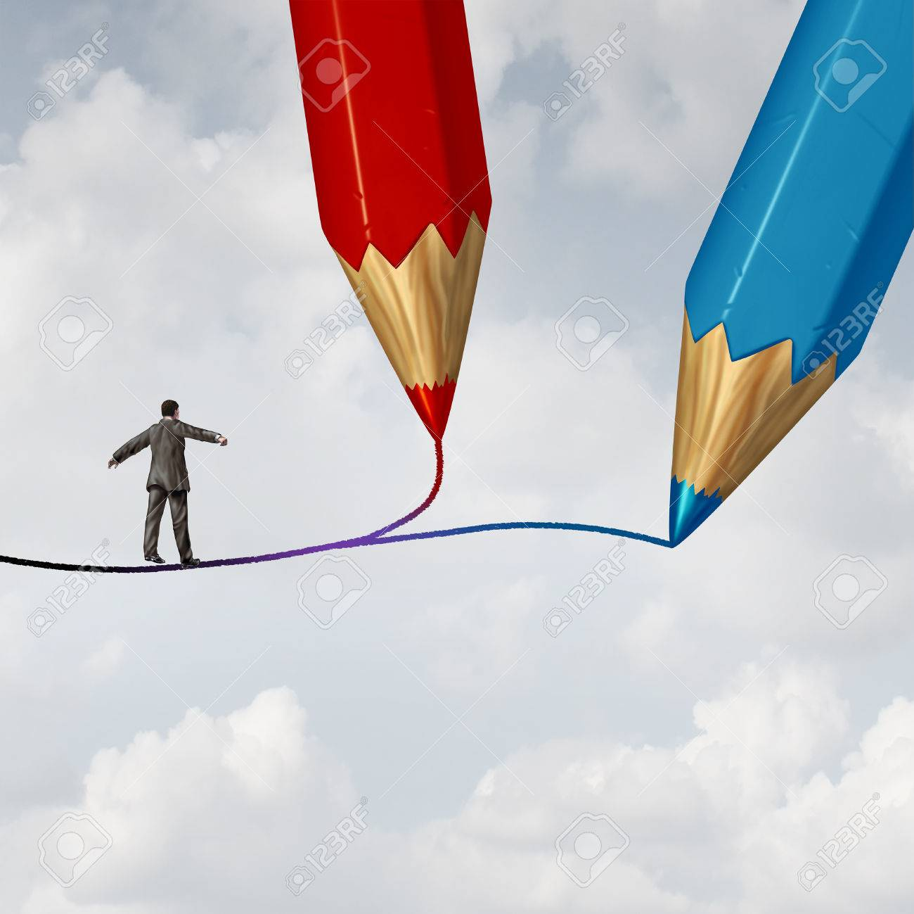 Concept of business direction as a businessman walking on a highwire drawn by two pencils as a crossroad challenge to choose the correct path or pathway to success with 3D illustration elements. Stock Illustration - 56997805