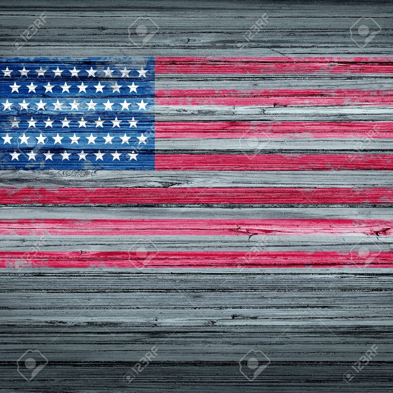 American Remembrance Day Background Rustic Antique USA Flag Painted On Old Weathered Wood As A Patriotic