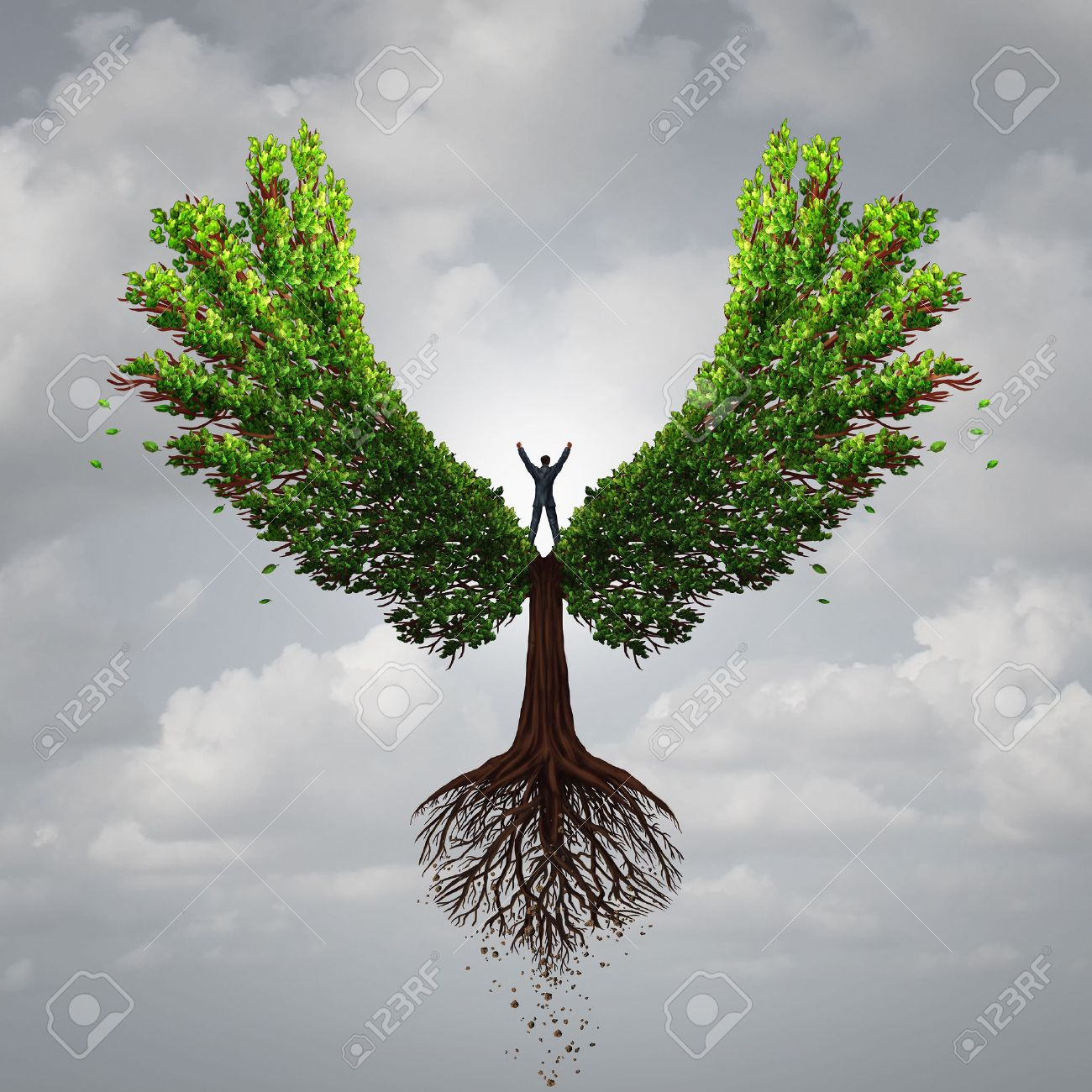 Control your life opportunity concept as a person taking charge and controlling a tree with wings flying towards a goal for success as a psychology symbol for positive thinking in a 3D illustration style. - 57750225
