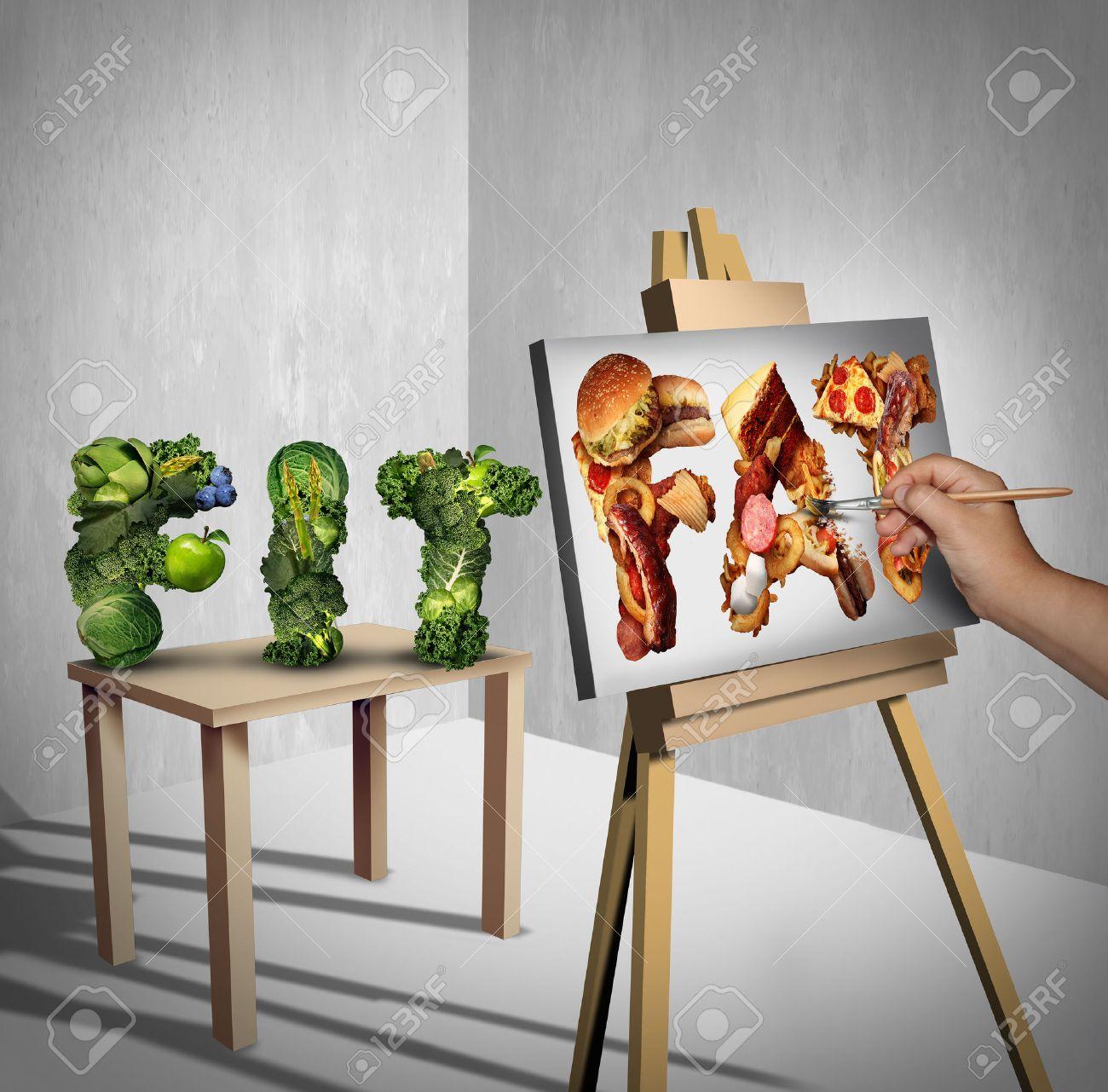 Lebensmittel Versuchung Konzept Als Grünes Gemüse Als Fit Wort ...