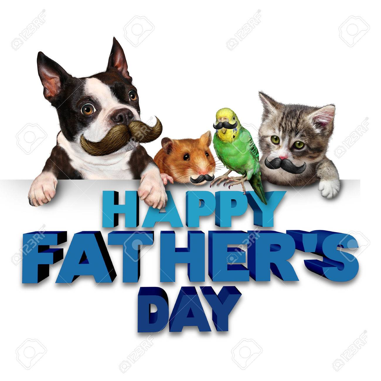 Fathers day greetings fun concept as a group of pets with mustaches fathers day greetings fun concept as a group of pets with mustaches or moustache symbols as biocorpaavc Images