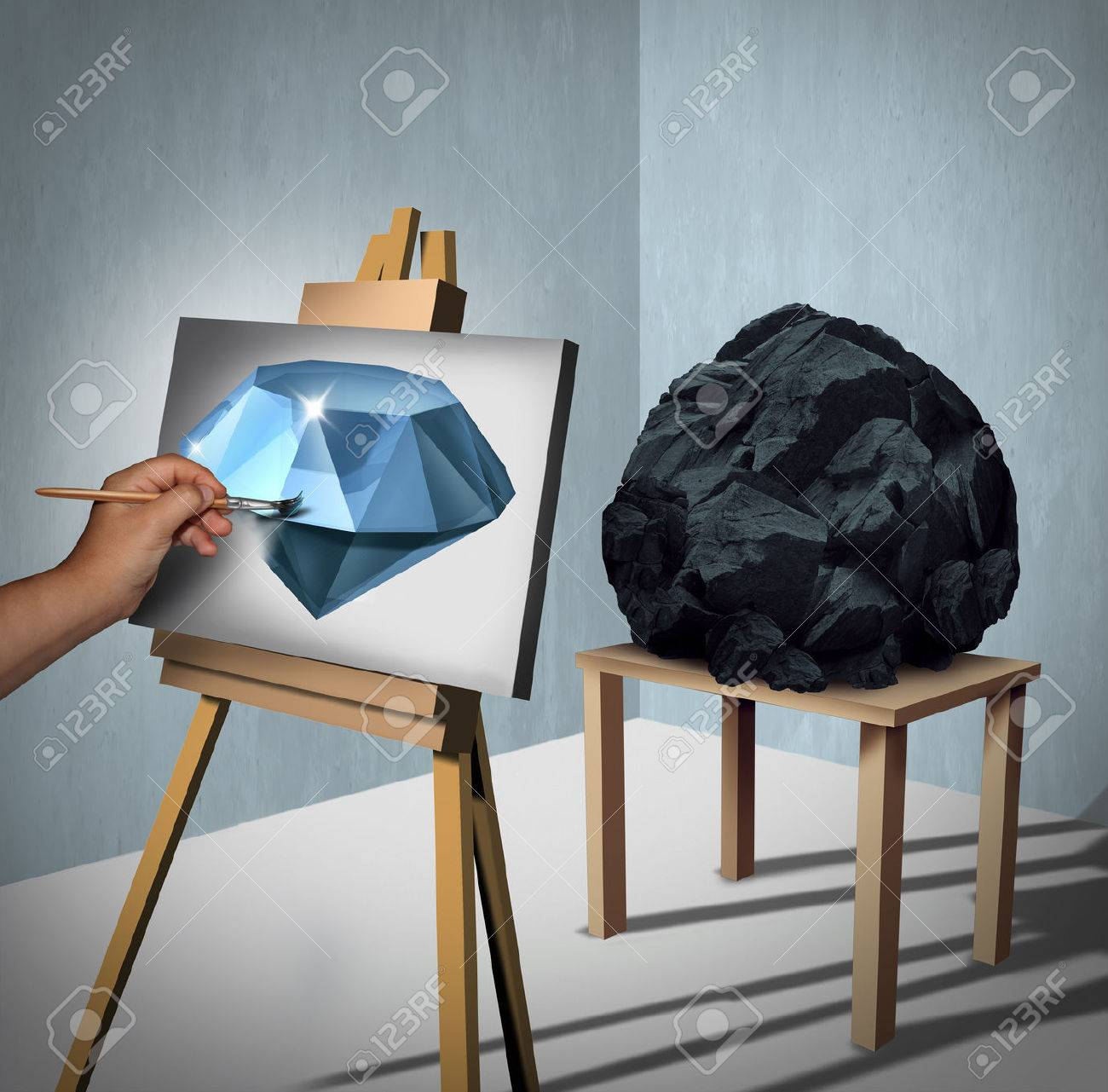 Seeing the possibilities or value opportunity and creating wealth financial concept as a painter looking at a rock or coal and inertpreting the object as a painted precious diamond on canvas with 3D illustration elements. Stock Illustration - 58584036