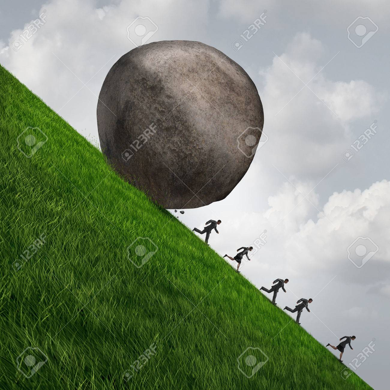 Corporate pressure business concept as a huge boulder rock rolling down a hill with running businesswomen and businessmen as an economic risk and danger metaphor with 3D illistration elements. Standard-Bild - 58584038