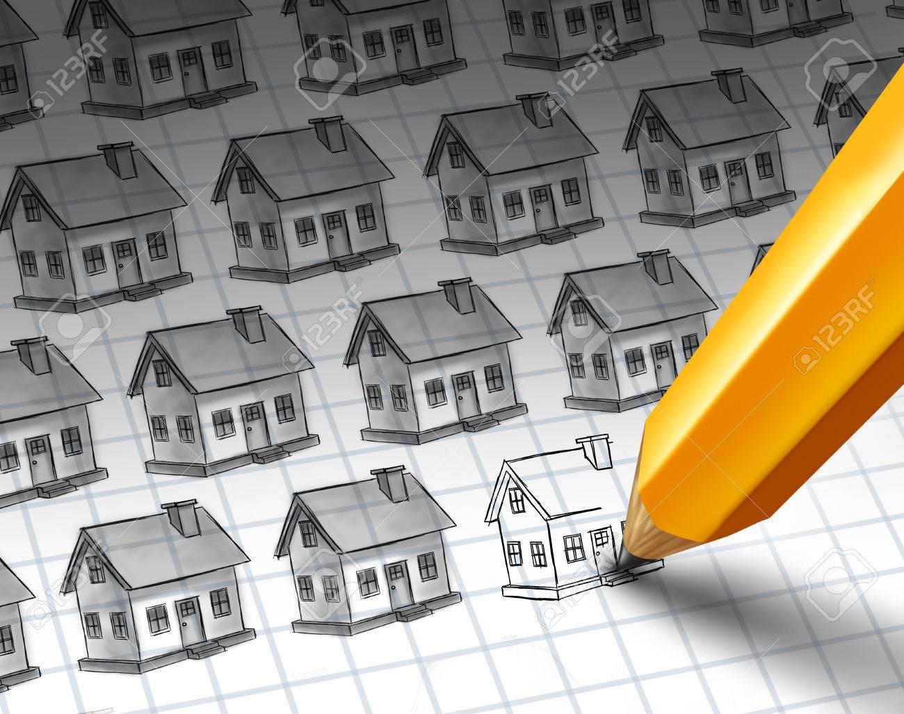 Bau Zunahme Und Wachsende Wohnanlage Konzept Als Skizze Mit Mehreren ...