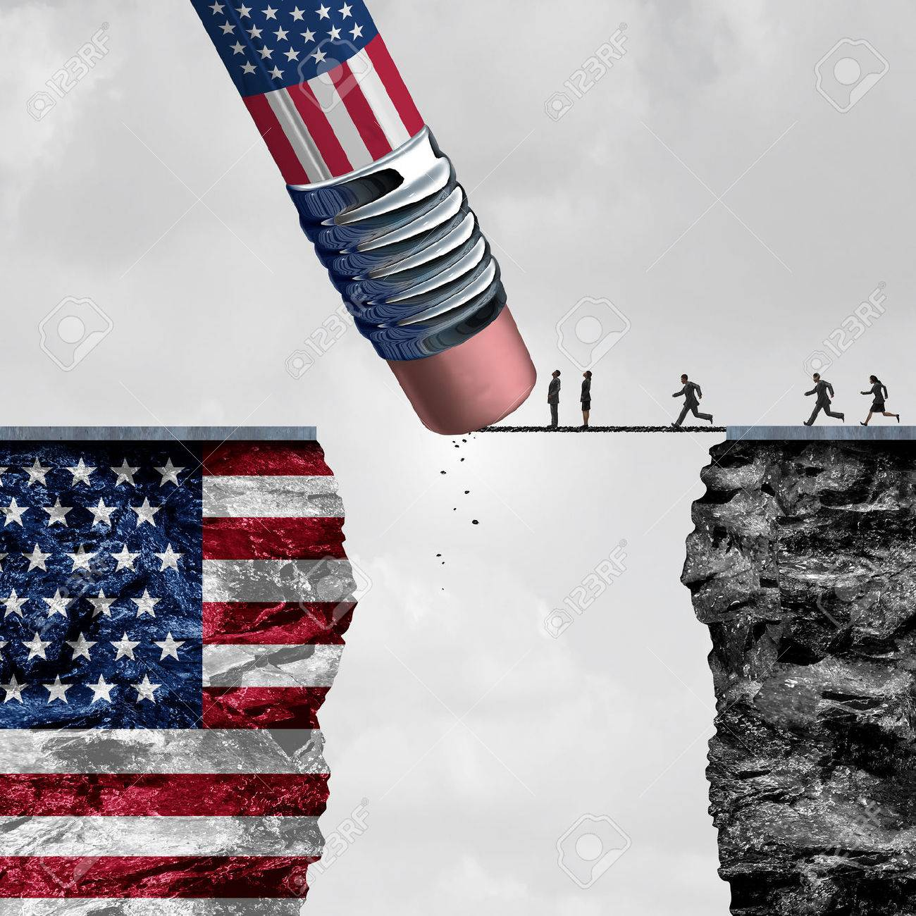 United States border isolationism and protectionism or American immigration refugee crisis as people running to cross a bridge that is being erased by a pencil with a US flag on a cliff as a social issue on refugees or illegal immigrants with 3D illustration elements. Standard-Bild - 59422671