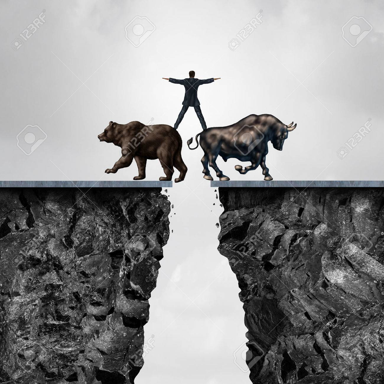 Concept of investment risk as a businessman balancing on top of a bear and bull as a financial metaphor for the danger of managing stock market forces of buying or selling in a 3D illustration style. Stock Photo - 59422676