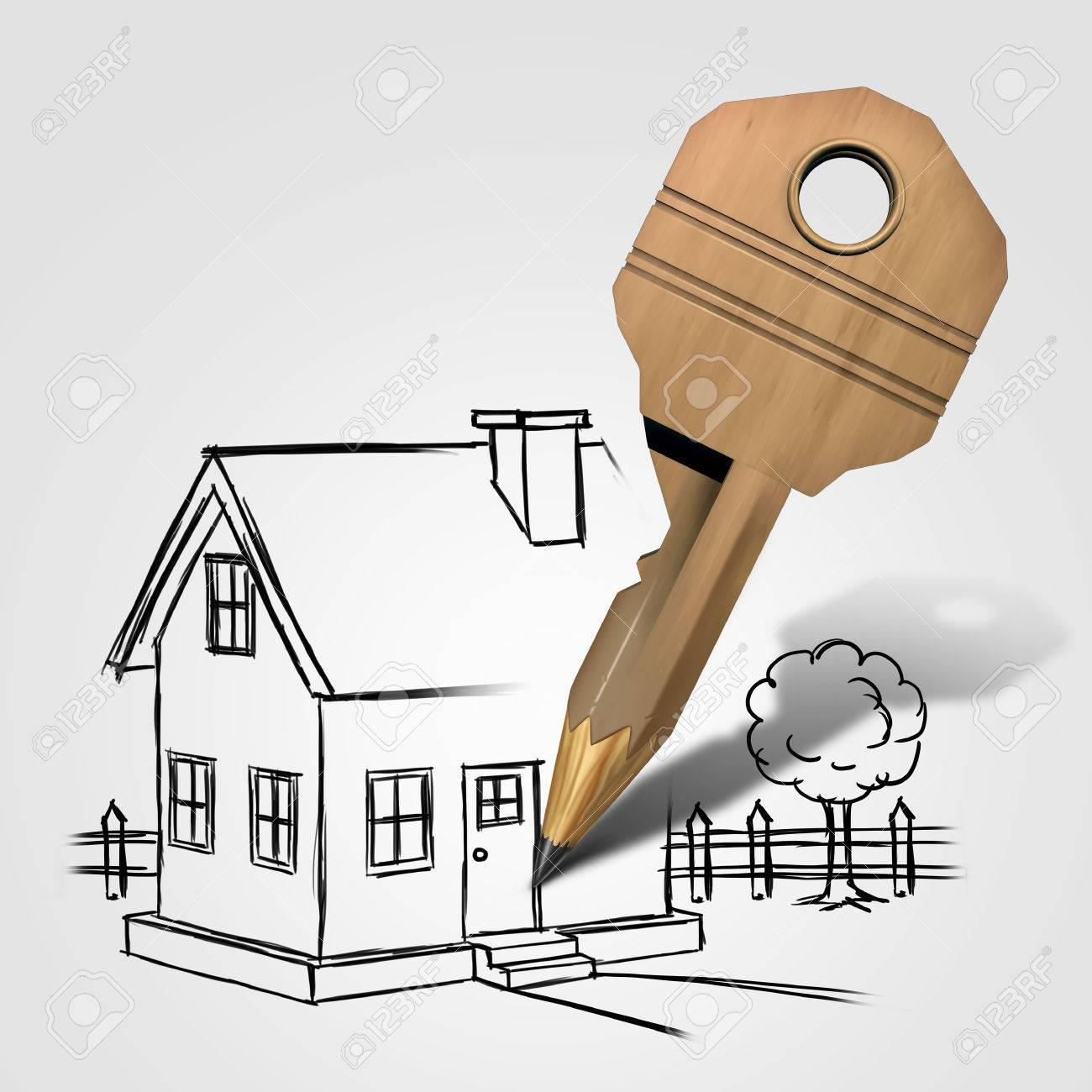 Maison dessin clé et la planification dun concept de solution à la maison de la famille comme un objet de verrouillage en forme de crayon à dessiner une