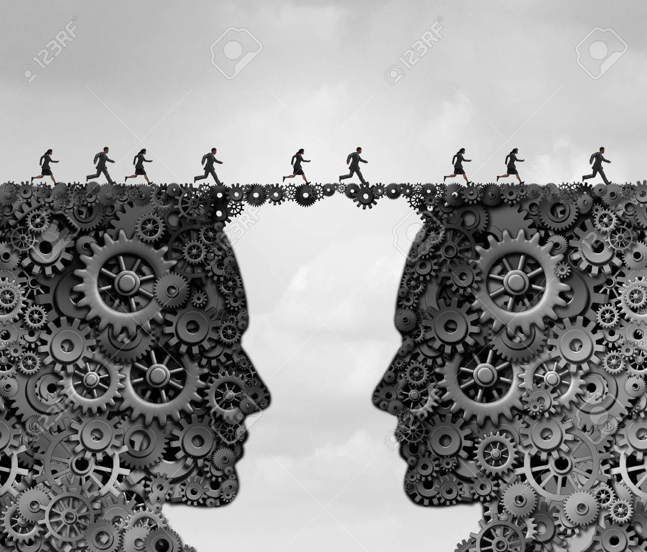 Business industry bridge as a group of people running across a link made of gears and cogwheels shaped as a head as a success metaphor for technology solutions with 3D illustration elements. - 60168782