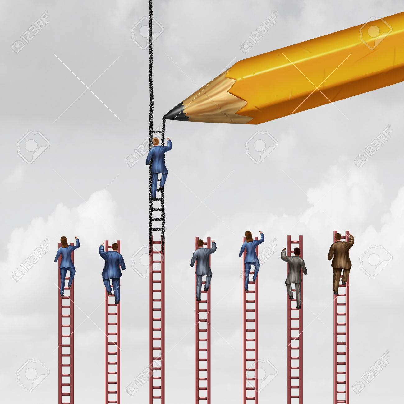 Career advice concept and business success support symbol as a group of businessmen and businesswomen climbing limited ladders but one individual that is helped by a pencil extending opportunity with 3D illustration elements. Stock Illustration - 60688197