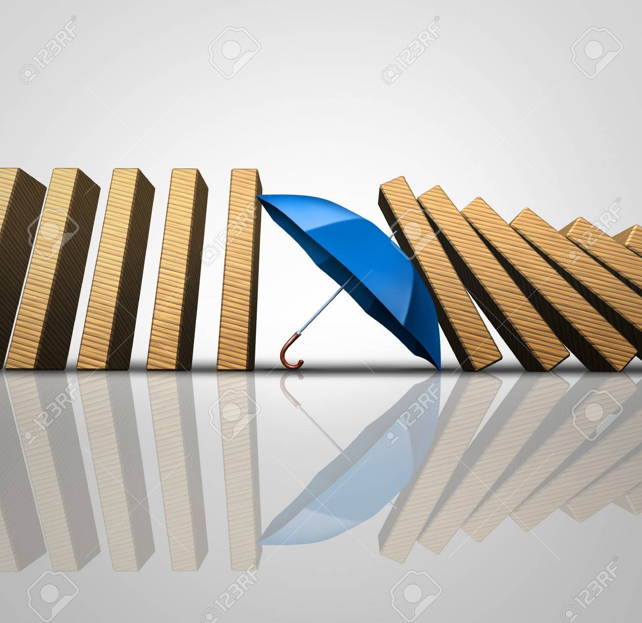 Protect losses concept and shielding incoming disaster as an umbrella stopping the domino effect or falling dominos as a business guarantee metaphor as a 3D illustration. - 62682387