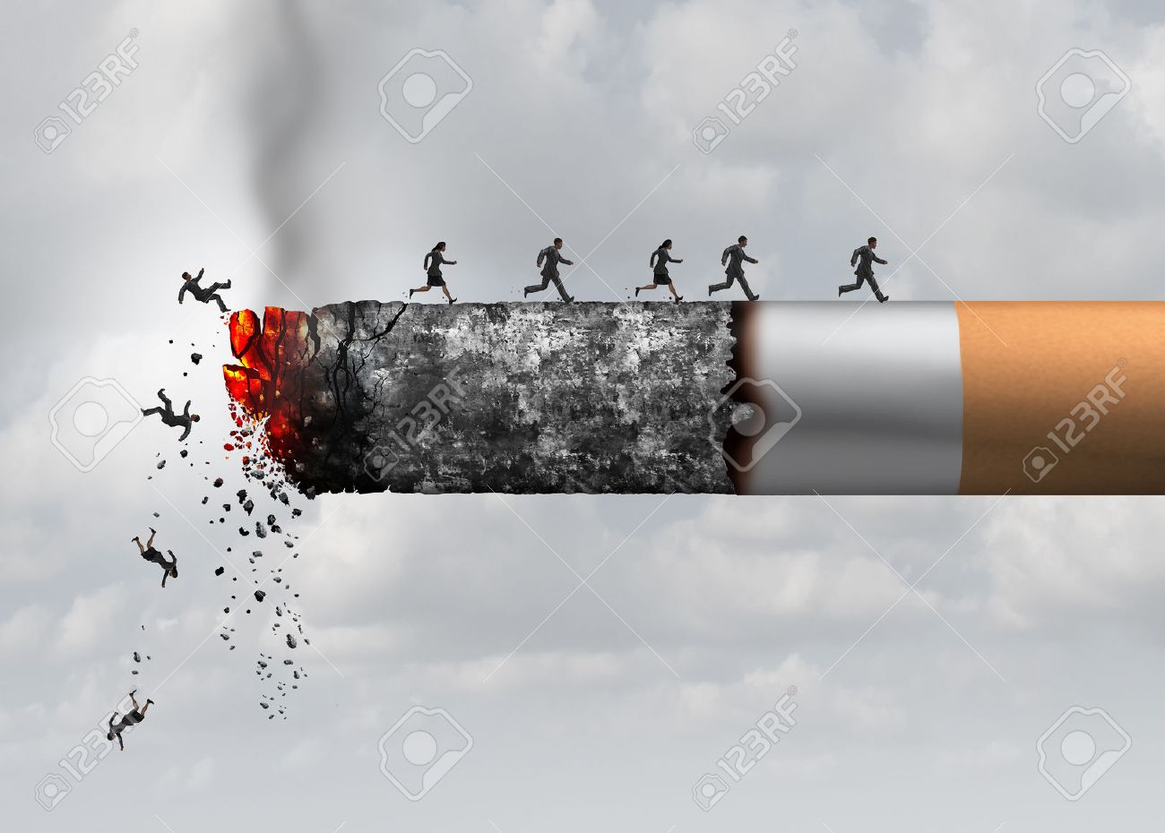 Smoking death and danger concept as a cigarette burning with people falling and escaping the hot burning ash as a metaphor for toxic smoke exposure causing lung cancer and lethal health risks with 3D illustration elements. Stock Illustration - 60688204