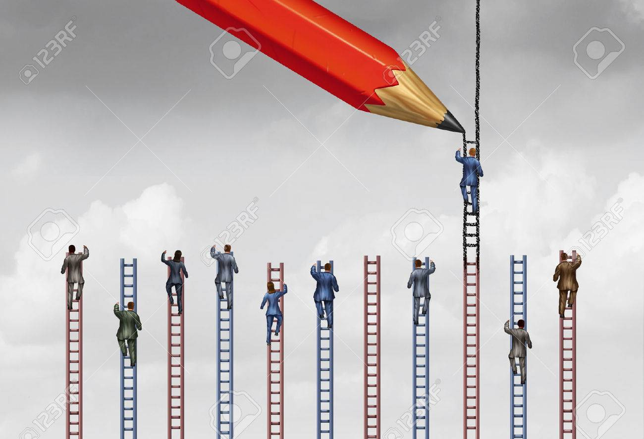Rigged system or unfair business practice as a businessman or individual person being influenced by a helpful pencil that is drawing a higher ladder to success and win over his competition with 3D illustration elements. Stock Illustration - 60837160