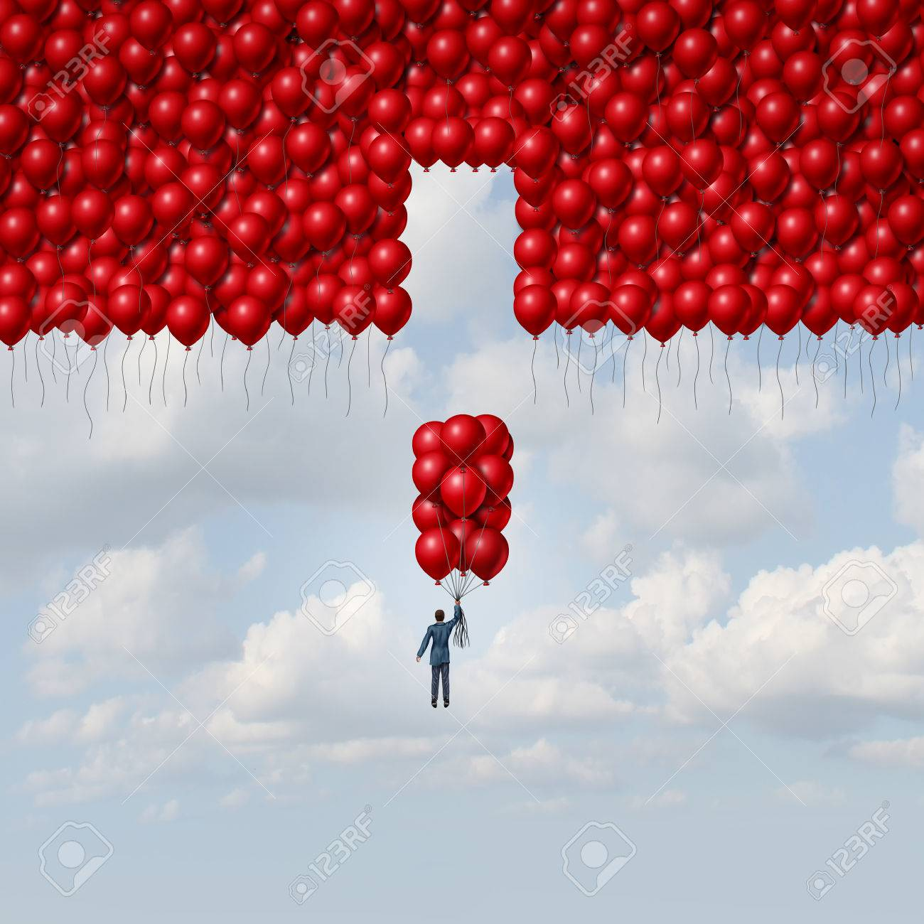 Complete solution business concept as a businessman with a group of balloons as a missing part of a larger organization as a concept for integration and a metaphor for assembly with 3D illustration elements. Standard-Bild - 60837162