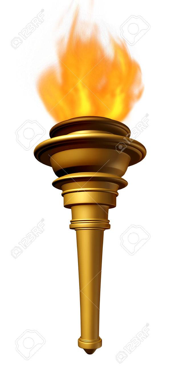Torch Flame Symbol As A Flaring Cresset Emblem For Sport Ceremony