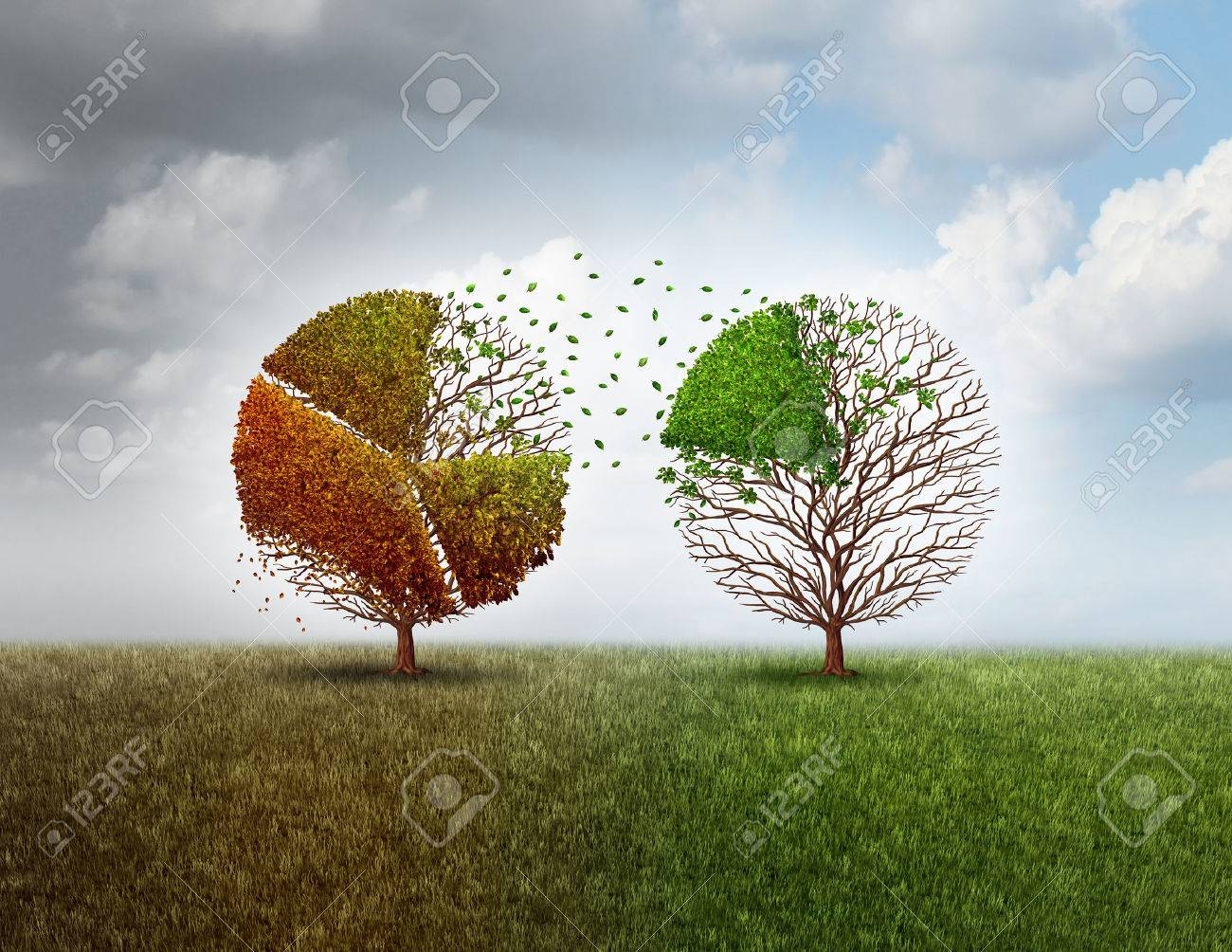 Investing in new business and invest in an economic future while divesting in old industry as a financial metaphor with an old tree shaped as a finance pie chart graph funding another vibrant green tree with 3D illustration elements. Standard-Bild - 64818599