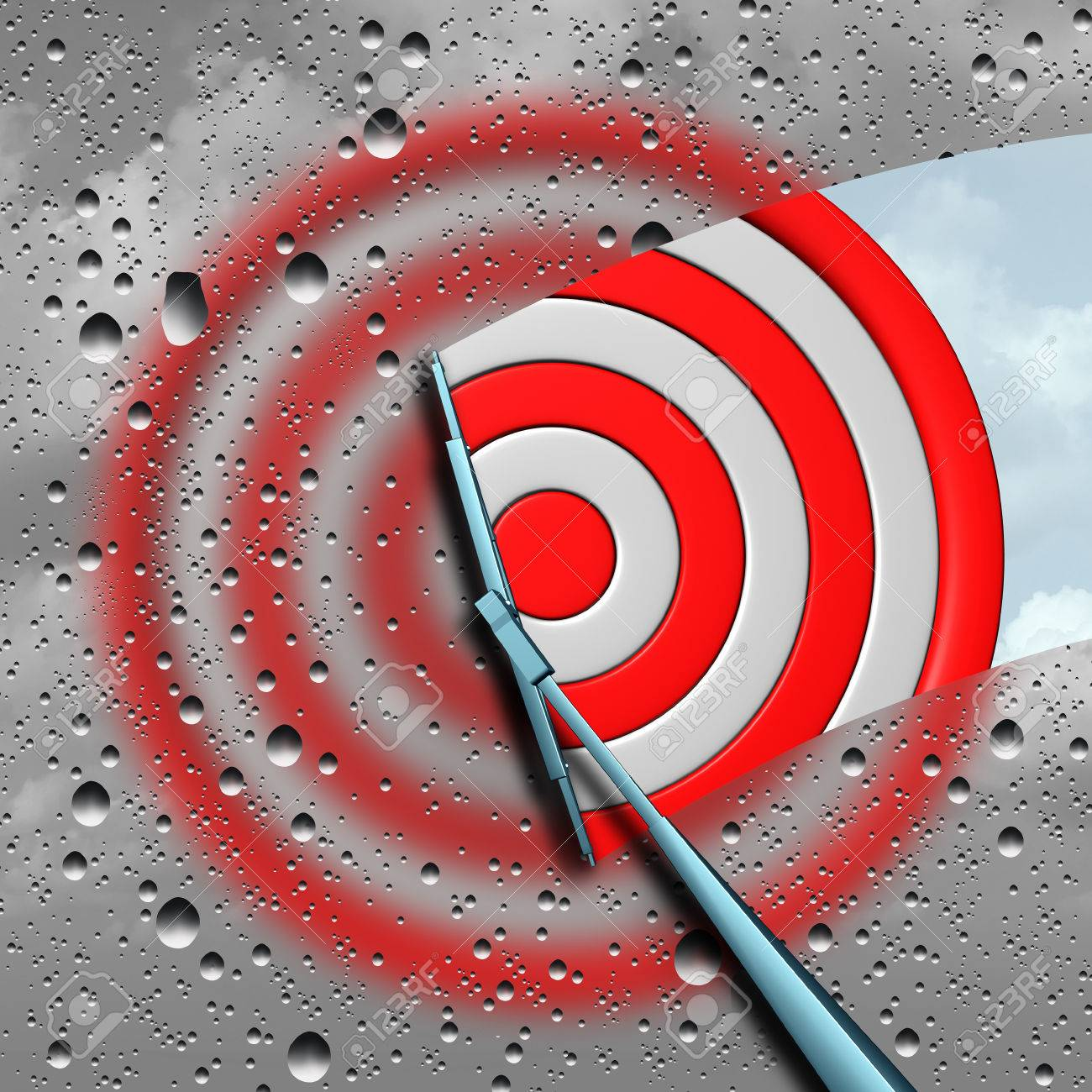 Concept of target as a blurry wet bulls eye dart target board being cleaned by a wiper as a business metaphor for clear focus or focused aim icon as a 3D illustration. Standard-Bild - 64818603