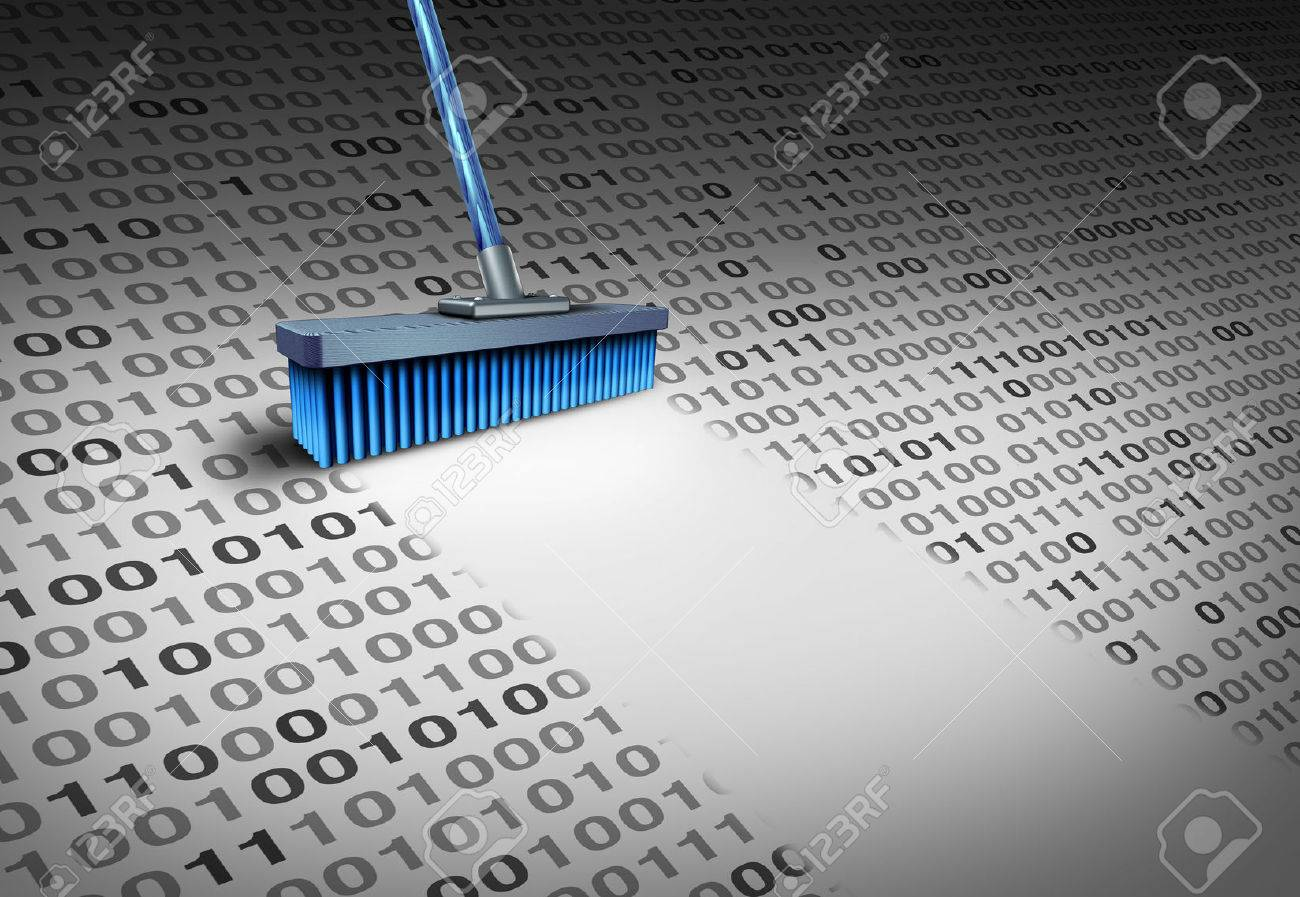 Deleting data technology concept as a broom wiping clean binary code as a cyber security symbol for erasing computer information or to delete an email and clean a hard drive server with 3D illustration elements. Stock Illustration - 64818638
