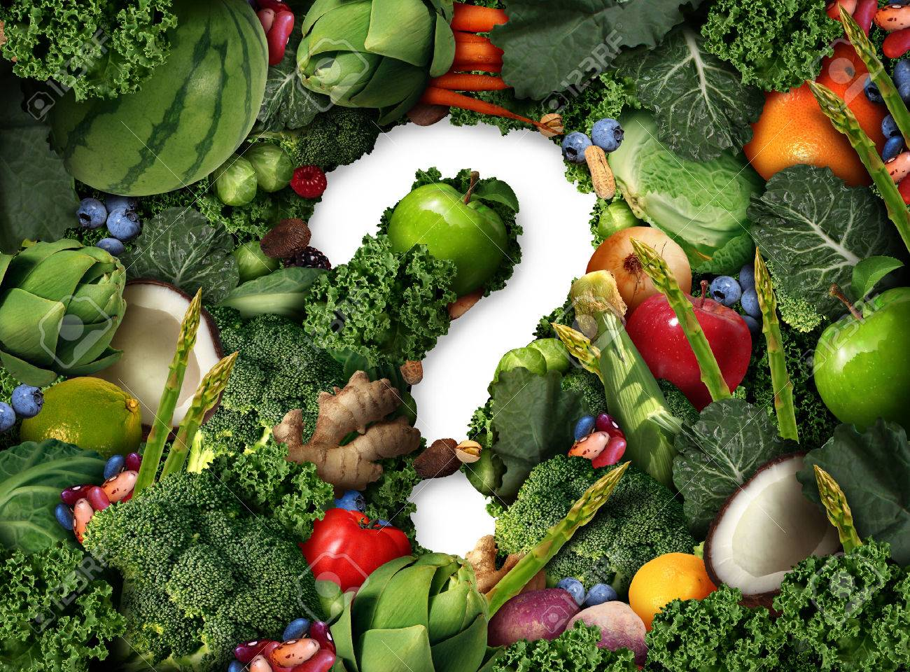 Healthy food questions as a concept for green diet as a group of fresh fruit vegetables nuts beans and berries in the shape of a question mark as a symbol of good high fiber eating and information on natural nutrition in a 3D illustration style. Standard-Bild - 63825855