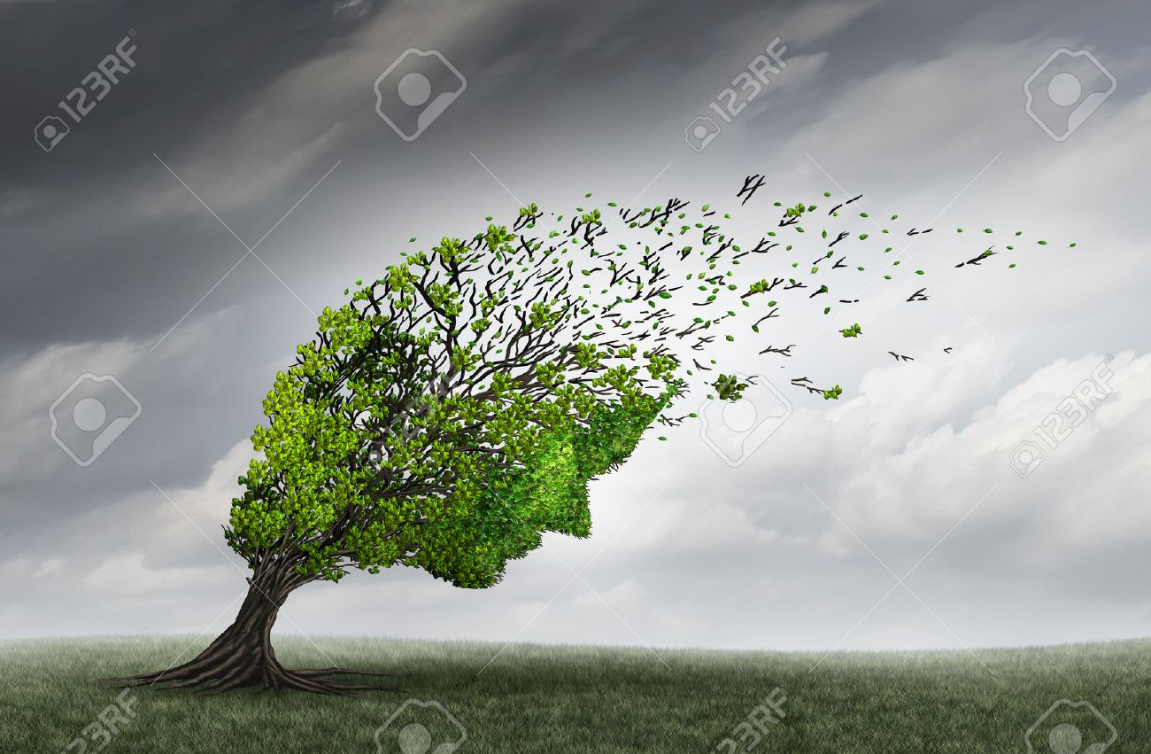 Psychological trouble and mental health adversity crisis as a tree shaped as a human head being torn or stressed by strong winds as a psychiatry or psychology icon with 3D illustration elements. - 63825878