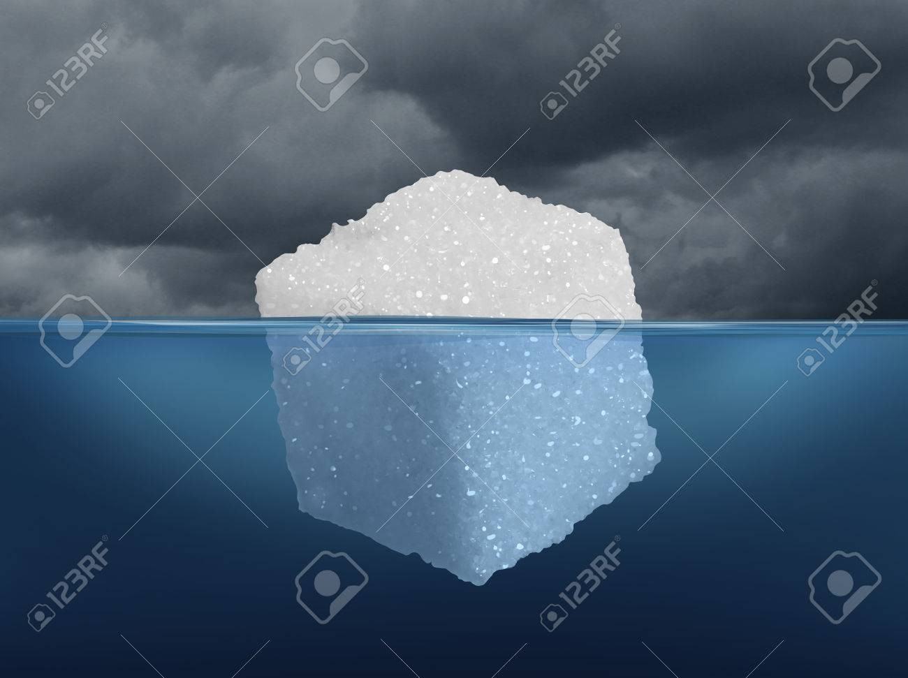 Sugar risk and hidden dietary medical danger concept as an iceberg made from a sugar cube as risky sweet granulated refined sweetener as a metaphor for the underlying hazard of diabetes or unhealthy diet habit in a 3D illustration style. Stock Illustration - 63825907