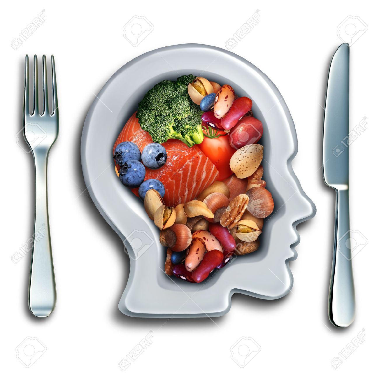 Brain food to boost brainpower nutrition concept as a group of nutritious nuts fish vegetables and berries rich in omega-3 fatty acids with vitamins and minerals for mind health with 3D illustration elements. Standard-Bild - 63825904
