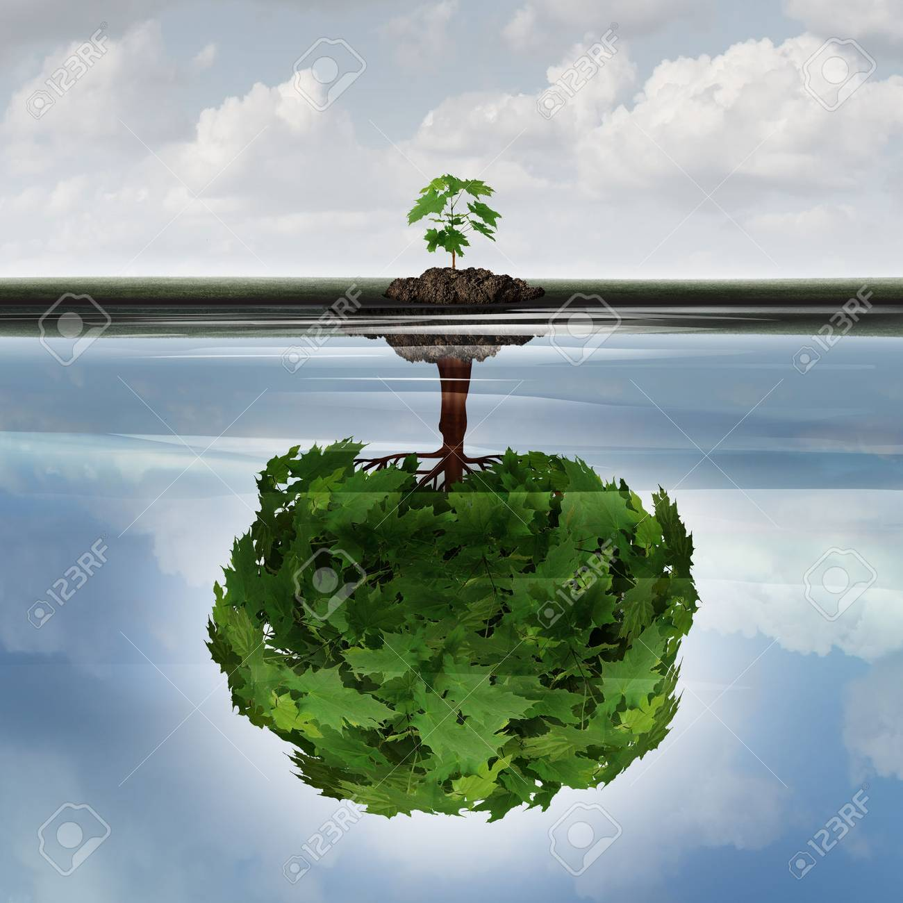 Potential success concept as a symbol for aspiration philosophy idea and determined growth motivation icon as a small young sappling making a reflection  of a mature large tree in the water with 3D illustration elements. Stock Illustration - 63825900