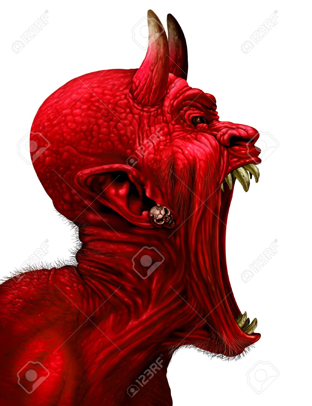 devil scream character as a red demon or monster sreaming with