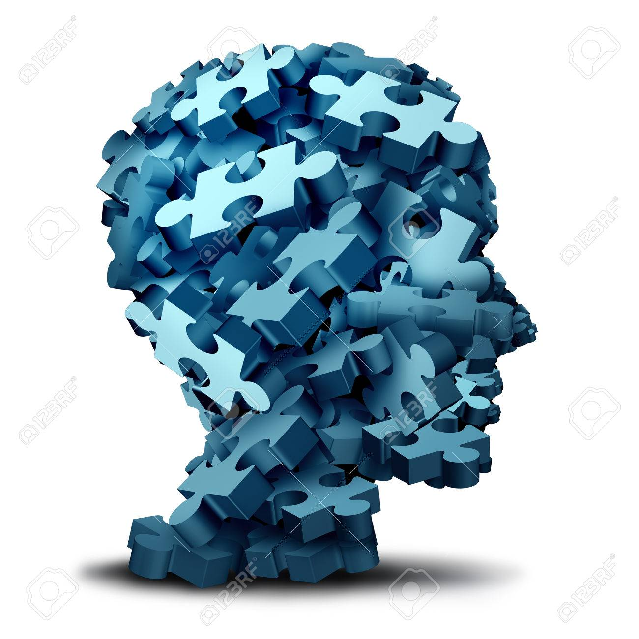心理学パズルのコンセプトとして3 D イラストのジグソー パズルの