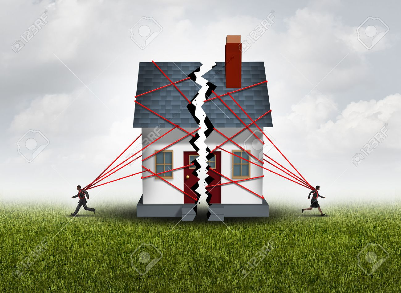 Broken family after a bitter divorce settlement and separation with a couple in a bad relationship breaking a house apart showing the concept of a marriage dispute and dividing assets with 3D illustration elements. Stock Photo - 64818708