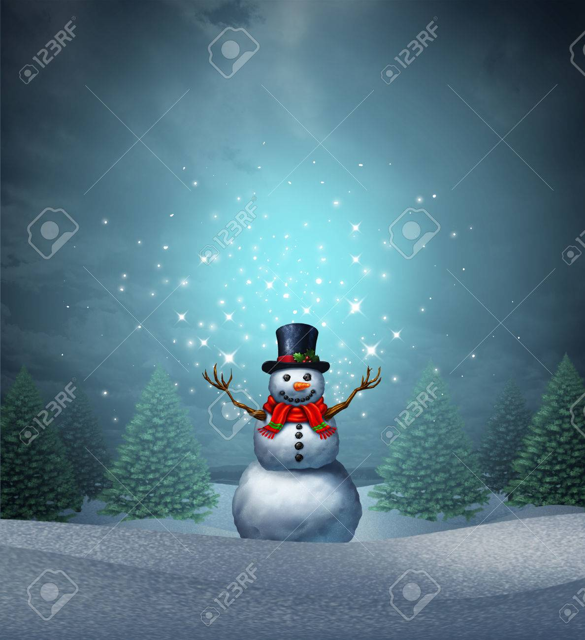 illustration magical snowman winter holiday as a merry christmas and happy new year greeting card with a cute happy snow character with glowing northern