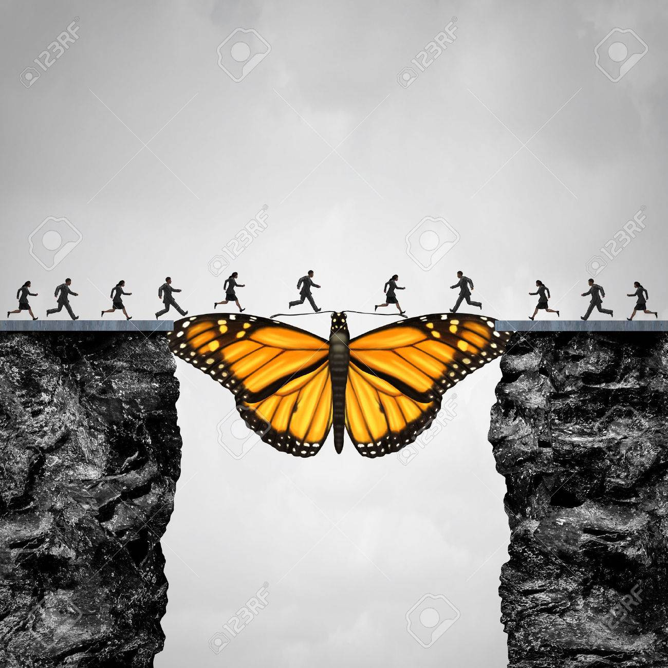 Opportunity and transition concept or migration as a butterfly acting as a bridge between two cliffs for people to go to their journey as a symbol for hope and faith with 3D illustration elements. - 65565963