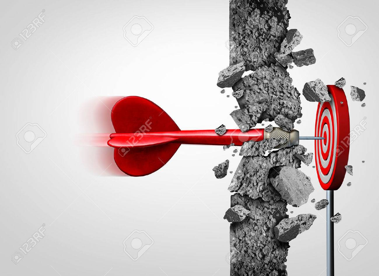 Breaking Through for success without limits and overcoming obstacles as a concrete wall to achieve a goal as a metaphor for a cure or business goals and hitting a financial target with 3D illustration elements. Stock Photo - 66522893