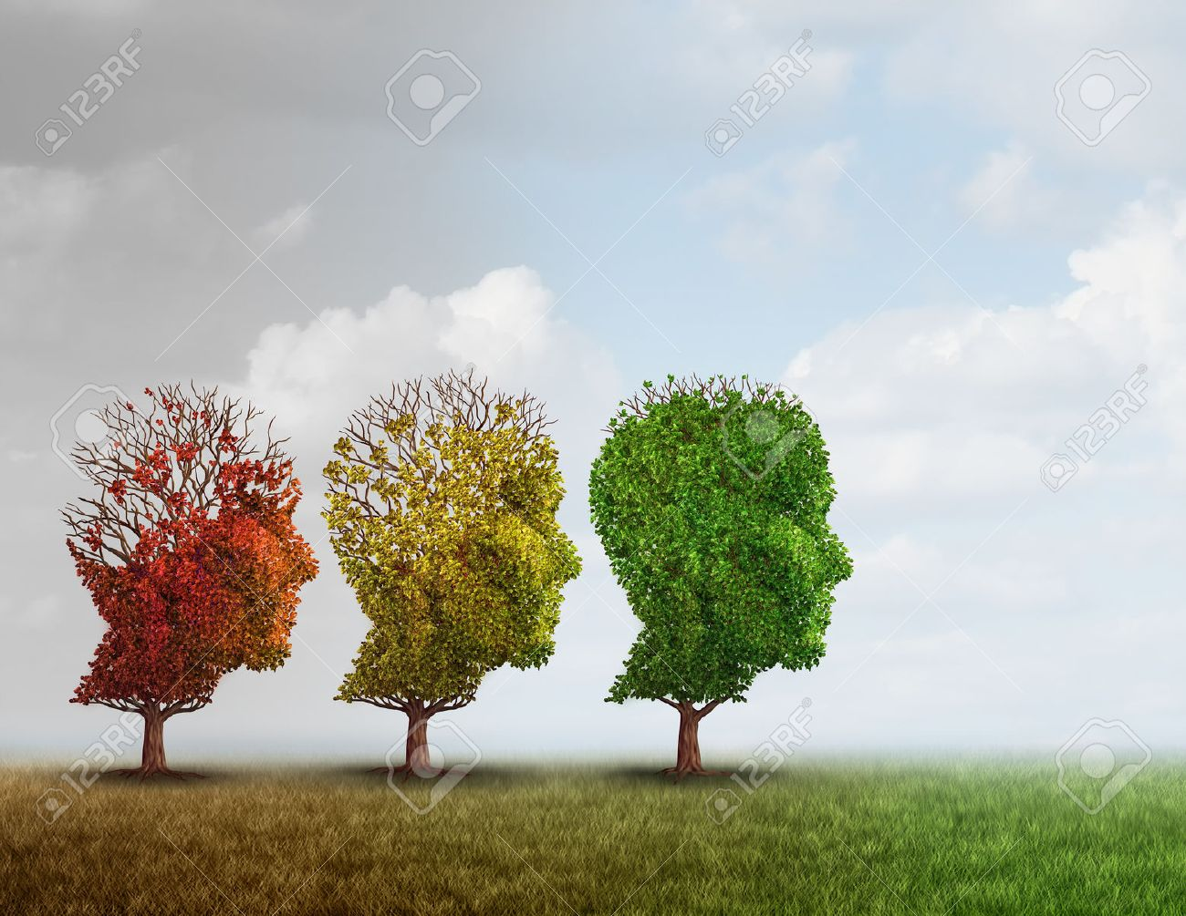 Dementia treatment and Alzheimer brain memory disease therapy concept as old trees recovering as a neurology or psychology cure metaphor with 3D illustration elements. - 66755841