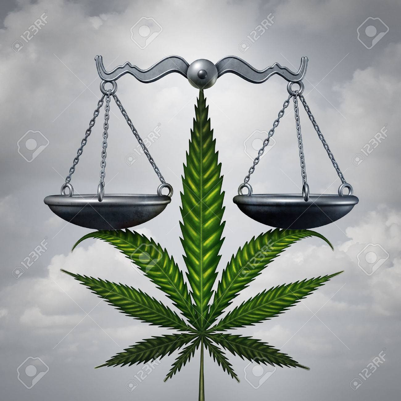 Marijuana law concept as a cannabis leaf holding up a justice scale as a medicinal or recreational drug legalization social issue symbol with 3D illustration elements. Standard-Bild - 68416502