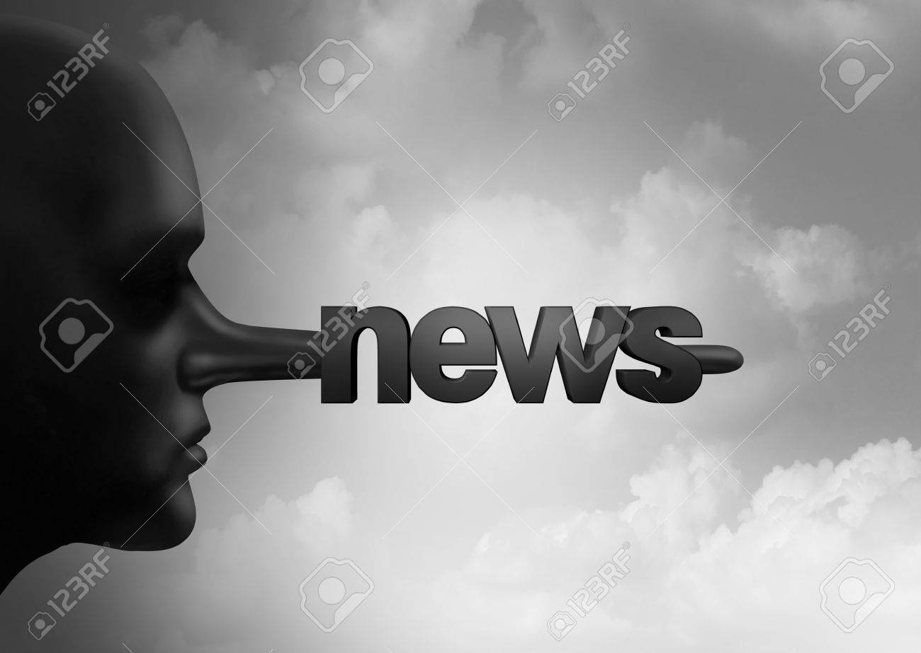 Fake news concept and hoax journalistic reporting as a person with a long liar nose shaped as text as false media reporting metaphor and fraudulent deceptive disinformation with 3D illustration elements. Stock Photo - 70546347