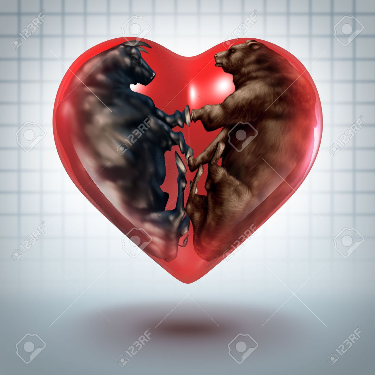 Investment love and loving investing concept as a bear and bull investment love and loving investing concept as a bear and bull curled in the shape of buycottarizona
