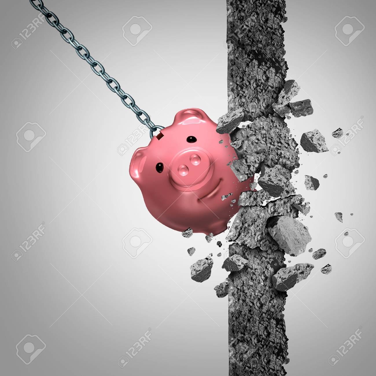 Come Abbattere Un Muro concetto o rompere la metafora e il simbolo banca libertà finanziaria come  una palla da demolizione solido a forma di salvadanaio risparmio demolire