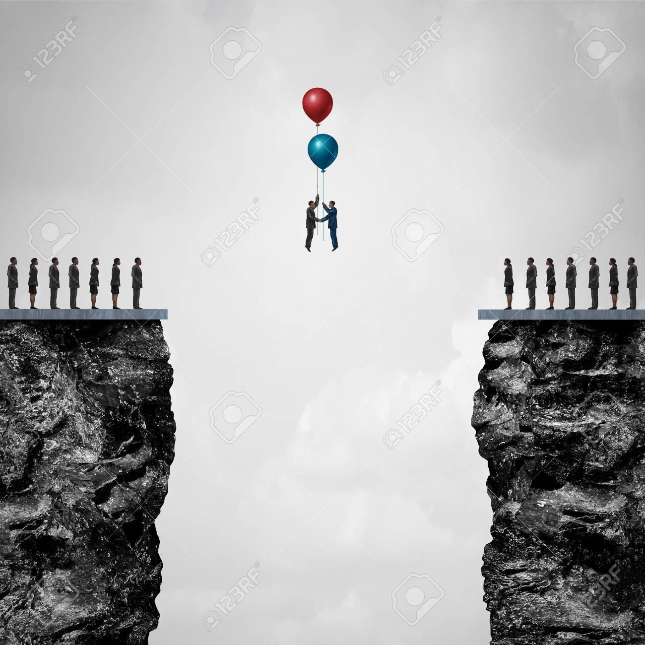 Hindernisse überwinden, Eine Brücke Zu Business-Partnership-Konzept ...
