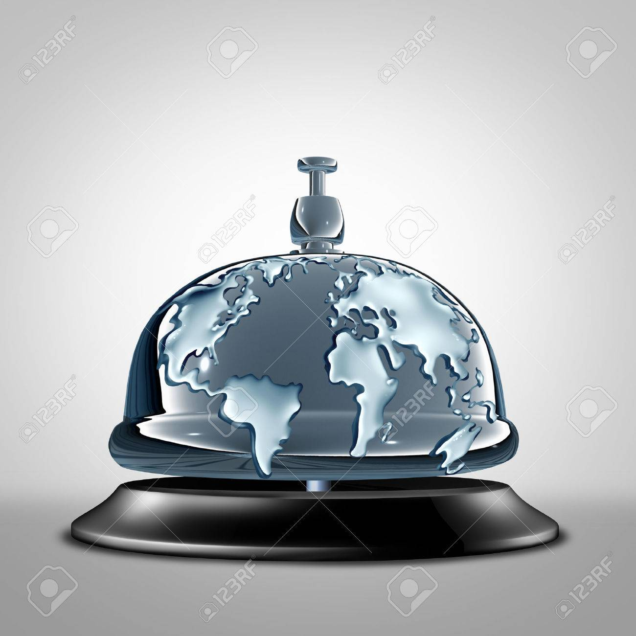 Global Service Symbol As A Front Desk Hotel Bell With The World Embosed In  The Silver