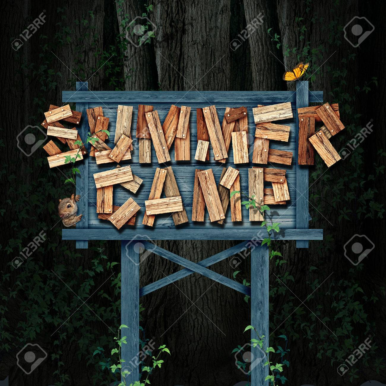 Summer Camp Nature Sign Text Made Of Rustic Wood In A Forest Stock