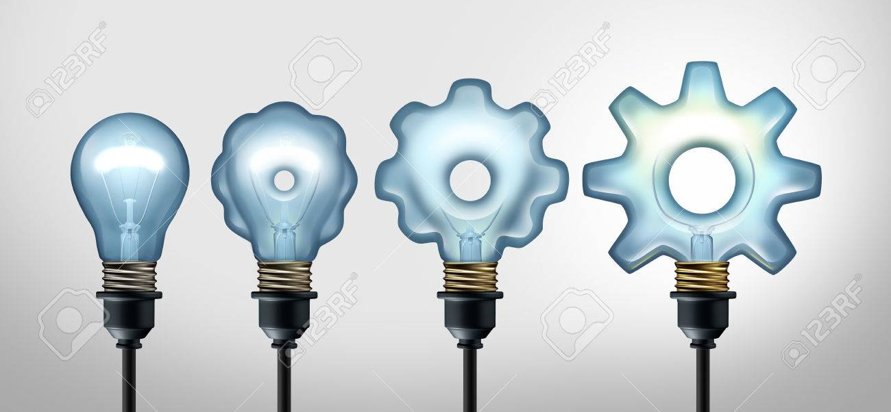 Business development idea and developing industry success through creative invention as a light bulb evolving to a gear shape as a 3D illustration. - 76853460
