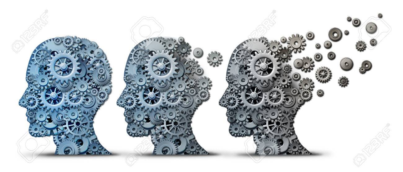 Alzheimer dementia brain disease as a memory loss and mental transforming neurology or mind mental health concept as a human head made of gears and machine cog wheels degrading and aging as a 3D illustration. - 83940218