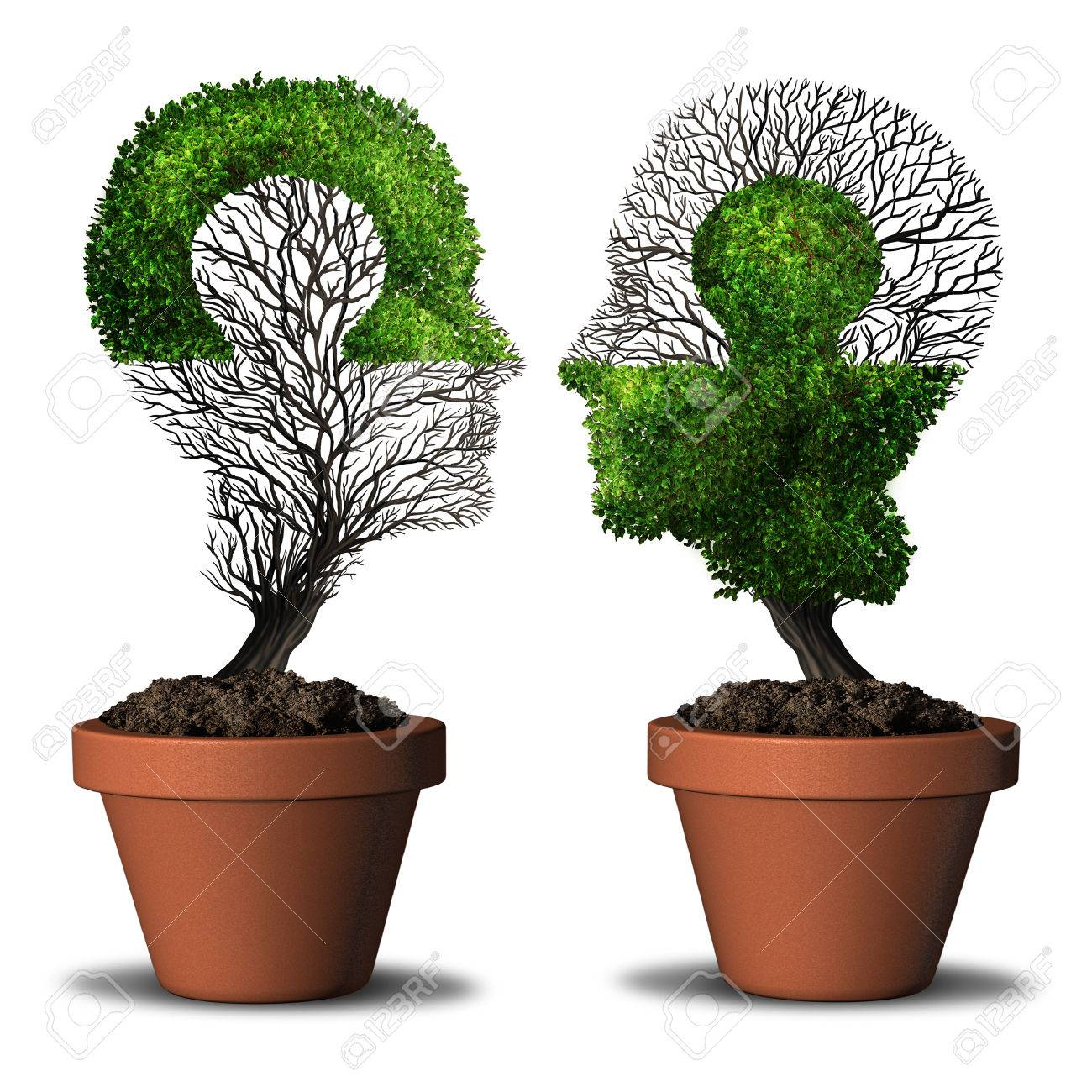 Perfect partner combination relationship and dual friendship concept as two trees shaped as a human head with a jigsaw puzzle with 3D illustration elements. - 84911447